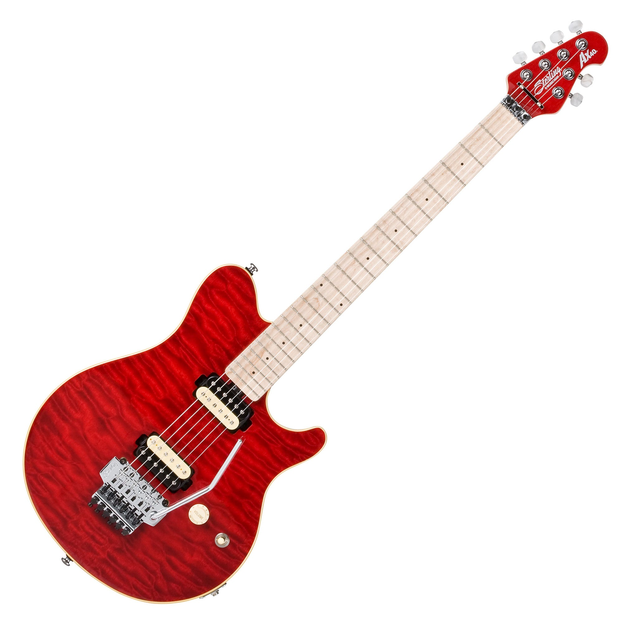 sterling by musicman ax40 trans red quilt top electric guitar l a music canada 39 s favourite. Black Bedroom Furniture Sets. Home Design Ideas