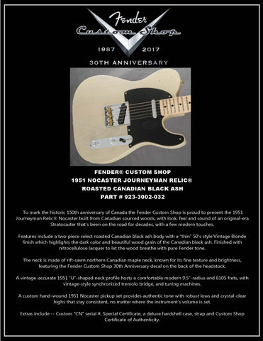 Fender Custom Shop 1951 Nocaster Journeyman Relic Roasted Canadian Black Ash Limited Edition ONLY 1 - L.A. Music - Canada's Favourite Music Store!