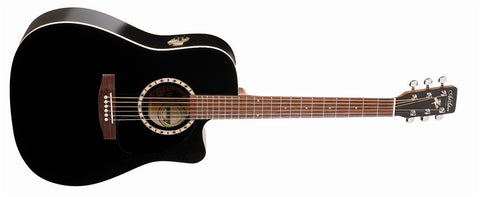Art & Lutherie Cutaway Cedar Black QI Acoustic Electric Guitar 023684