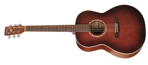 Art & Lutherie Cedar Top Folk Guitar with Canadian Wild Cherry Back and Sides Antique Burst Finish Left Handed 033003