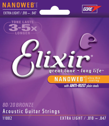 Elixir Acousitc Guitar 6 String NanoWeb Extra Light 11002