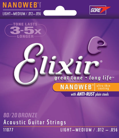 Elixir Acousitc Guitar 6 String NanoWeb Light Medium 11077 - L.A. Music - Canada's Favourite Music Store!