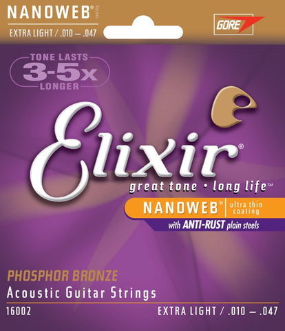 Elixir Acoustic Phosphor Bronze NanoWeb 6 String Extra Long 16002 - L.A. Music - Canada's Favourite Music Store!