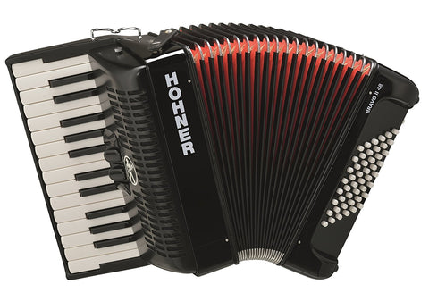 Hohner Bravo Piano Accordion, 26-Key/48 Bass, Black BR48B-N