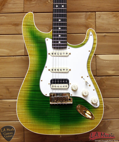 Fender Custom Shop Slab Body Stratocaster HSS Double Band Okume Flame Maple Lime Green Burst 9231006854 - L.A. Music - Canada's Favourite Music Store!