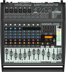 Behringer PMP500 EUROPOWER 500-Watt 12-Channel Powered Mixer with KLARK TEKNIK Multi-FX Processor, Compressors, FBQ Feedback Detection System and Wireless Option