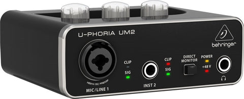Behringer UM2 U-PHORIA Audiophile 2x2 USB Audio Interface with XENYX Mic Preamplifier - L.A. Music - Canada's Favourite Music Store!