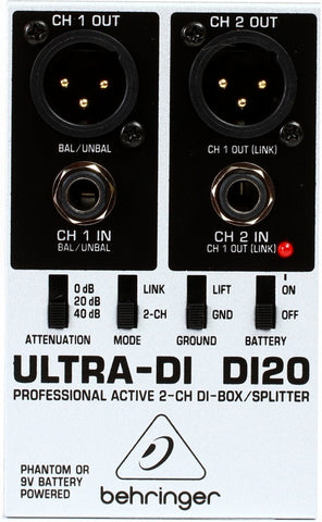 Behringer DI20 Professional Active 2 Channel DI Box Splitter - L.A. Music - Canada's Favourite Music Store!