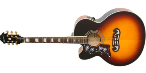 Epiphone EJ 200 Cutaway Electric Acoustic Guitar Vintage Sunburst EJ200CEVSGHLH LEFT HANDED - L.A. Music - Canada's Favourite Music Store!