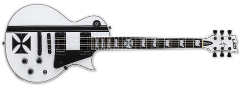ESP LTD James Hetfield Iron Cross Electric Guitar Snow White with Stripes Graphic - L.A. Music - Canada's Favourite Music Store!