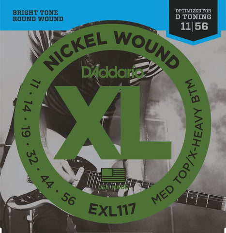 D'Addario EXL117 Nickel Wound Electric Guitar Strings, Medium Top/Extra-Heavy Bottom, 11-56
