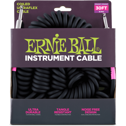 Ernie Ball 6044EB Coiled Cable Straight Black 30' - L.A. Music - Canada's Favourite Music Store!