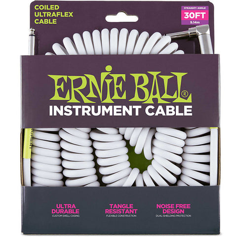 Ernie Ball 6045EB Coiled Cable Straight / Angle White 30' - L.A. Music - Canada's Favourite Music Store!