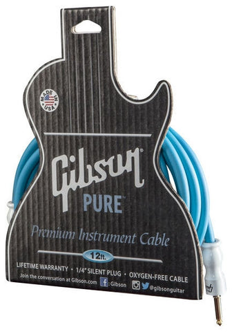 Gibson Instrument Cable Blue 12' GC-B12-BL - L.A. Music - Canada's Favourite Music Store!