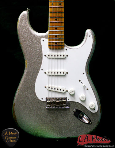 Fender Custom Shop 1954 Heavy Relic Stratocaster Sliver Sparkle 9230054817 - Serial Number - XN2518 - L.A. Music - Canada's Favourite Music Store!
