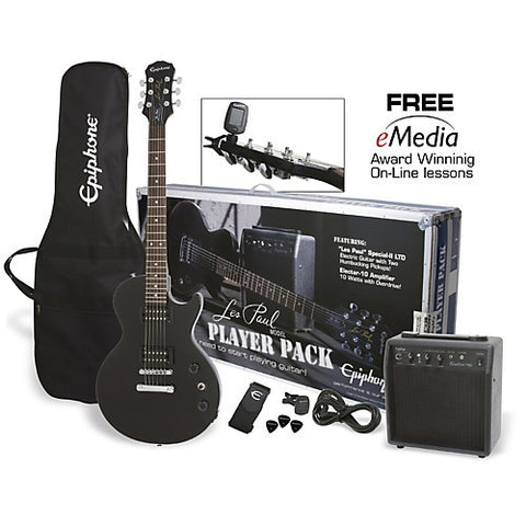 Epiphone Les Paul Special II Player Pack Electric Guitar Ebony ELPJEBCHPP