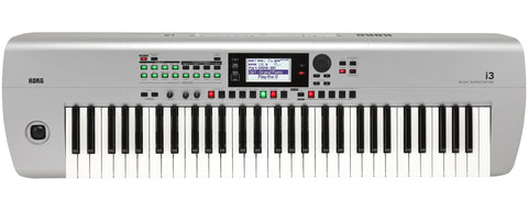 Korg 61-Key Interactive Workstation With Backing Tracks, 64 Note Poly And Sequencer, Silver I3MS