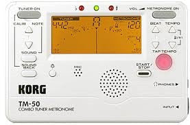 Korg Compact All in one Tuner & Metronome with large LCD displayPearl White TM50PW - L.A. Music - Canada's Favourite Music Store!