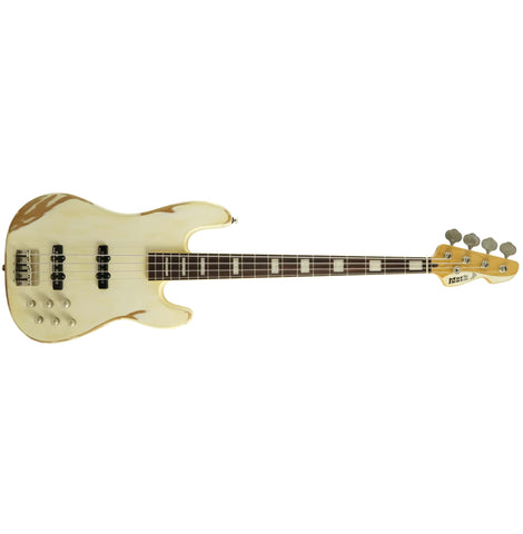 Markbass 4 String JF1 Series Electric Bass With Bag, White Battered MB-JF1-WHTBAT-4-VG-RW