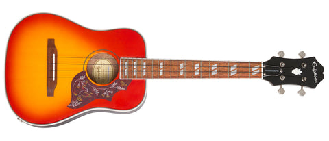 Epiphone 2018 Hummingbird Ukulele Tenor Acoustic Electric Faded Cherry Sunburst EUKTHBFCNH