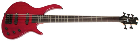 Epiphone Toby Deluxe V 5 String Bass Transparent Red TBD5TRBH - L.A. Music - Canada's Favourite Music Store!