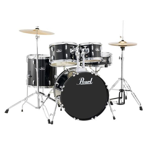 Pearl Roadshow RS505CC31 5 PIECE COMPLETE DRUM SET With Stands and Cymablas  JET BLACK