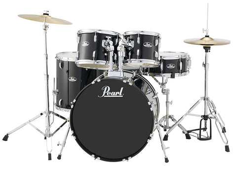 Pearl RS525SCC31 2216,1008,1209,1616,14X5.5 5 Piece SET With Hardware and Cymbals JET BLACK