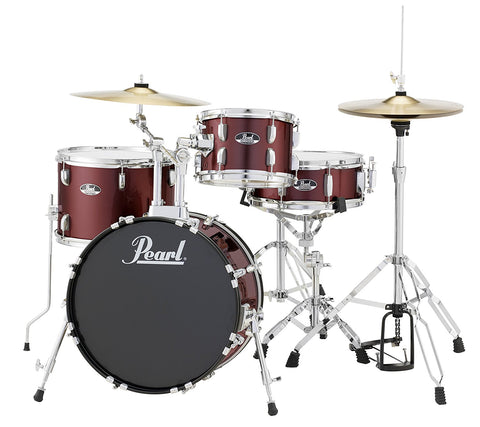 Pearl RS584CC91 1812,1007,1410,13X5 4PC SET With STANDS AND CYMBALS RED WINE