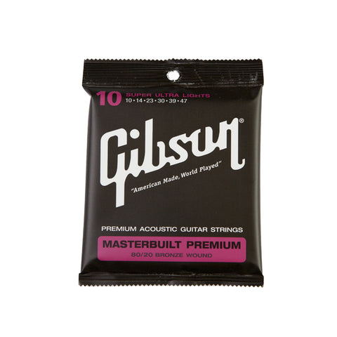 Gibson Masterbuilt Premium 80/20 Brass Acoustic Guitar Strings Super Ultra Lights 10-47 - L.A. Music - Canada's Favourite Music Store!