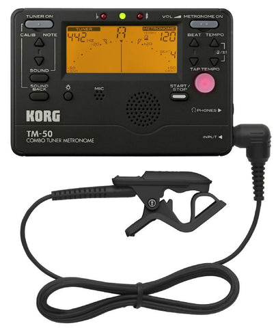 Korg Tuner Metronome TM50 with CM200 Contact Mic Black TM50C-BK - L.A. Music - Canada's Favourite Music Store!