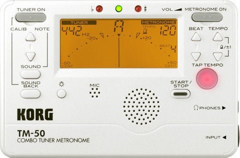 Korg Tuner Metronome TM50 With CM200 Contact Mic Pearl White TM50C-PW - L.A. Music - Canada's Favourite Music Store!