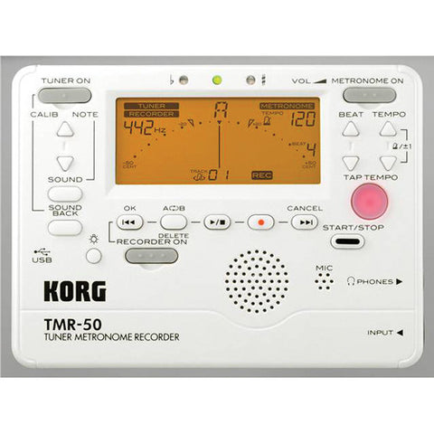 Korg Pearl White Tuner/Metronome with Recorder TMR50-PW - L.A. Music - Canada's Favourite Music Store!