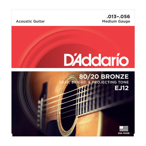 D'Addario EJ12 80/12 Bronze Acoustic Guitar Strings, Medium, 13-56