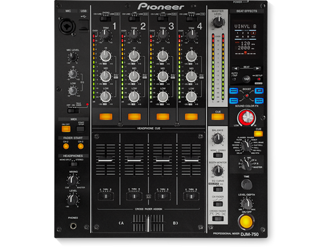 4 Channel Pro DJ Mixer with Effects Boost - Black