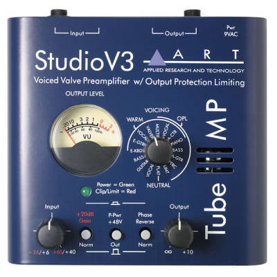 ART TUBEMPSTV3 TubeMP Studio V3 - Tube Mic Preamp with V3 and Meter