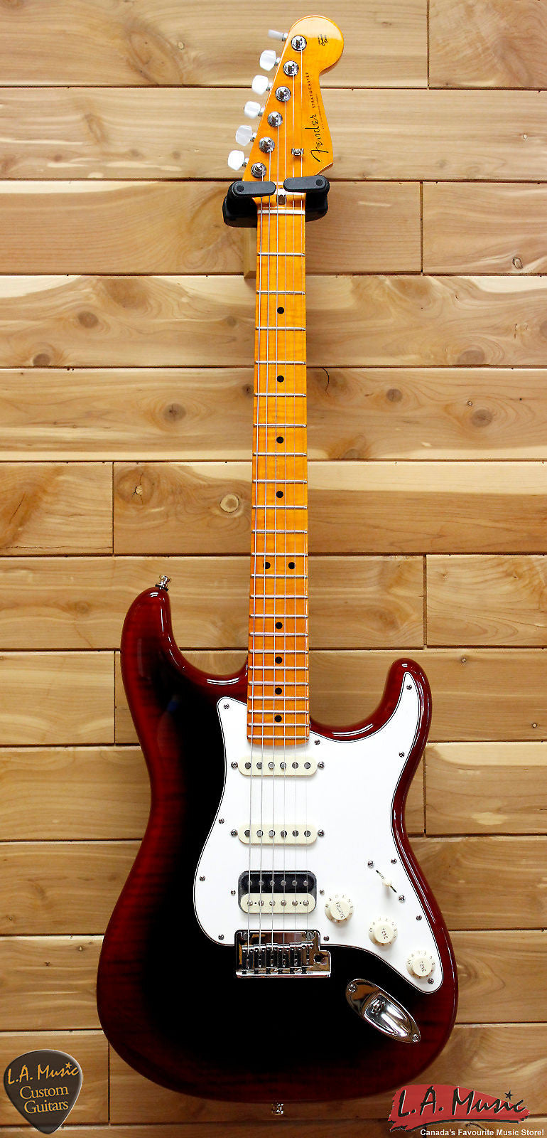 fender custom shop american custom stratocaster hss maple neck red bur l a music canada 39 s. Black Bedroom Furniture Sets. Home Design Ideas