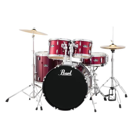 Pearl RS525SCC91 22x16 10x08 12x09 16x16 14X5.5 5 Piece SET With Hardware and Cymbals RED WINE