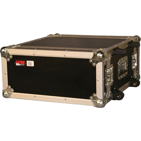 "Gator 4 space 19"" flight rack W/ 2 wheels & retract. handle - L.A. Music - Canada's Favourite Music Store!"