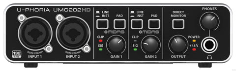 Behringer UMC202HD U-PHORIA Audiophile 2x2, 24-Bit 192 kHz USB Audio Interface with MIDAS Mic Preamplifiers - L.A. Music - Canada's Favourite Music Store!