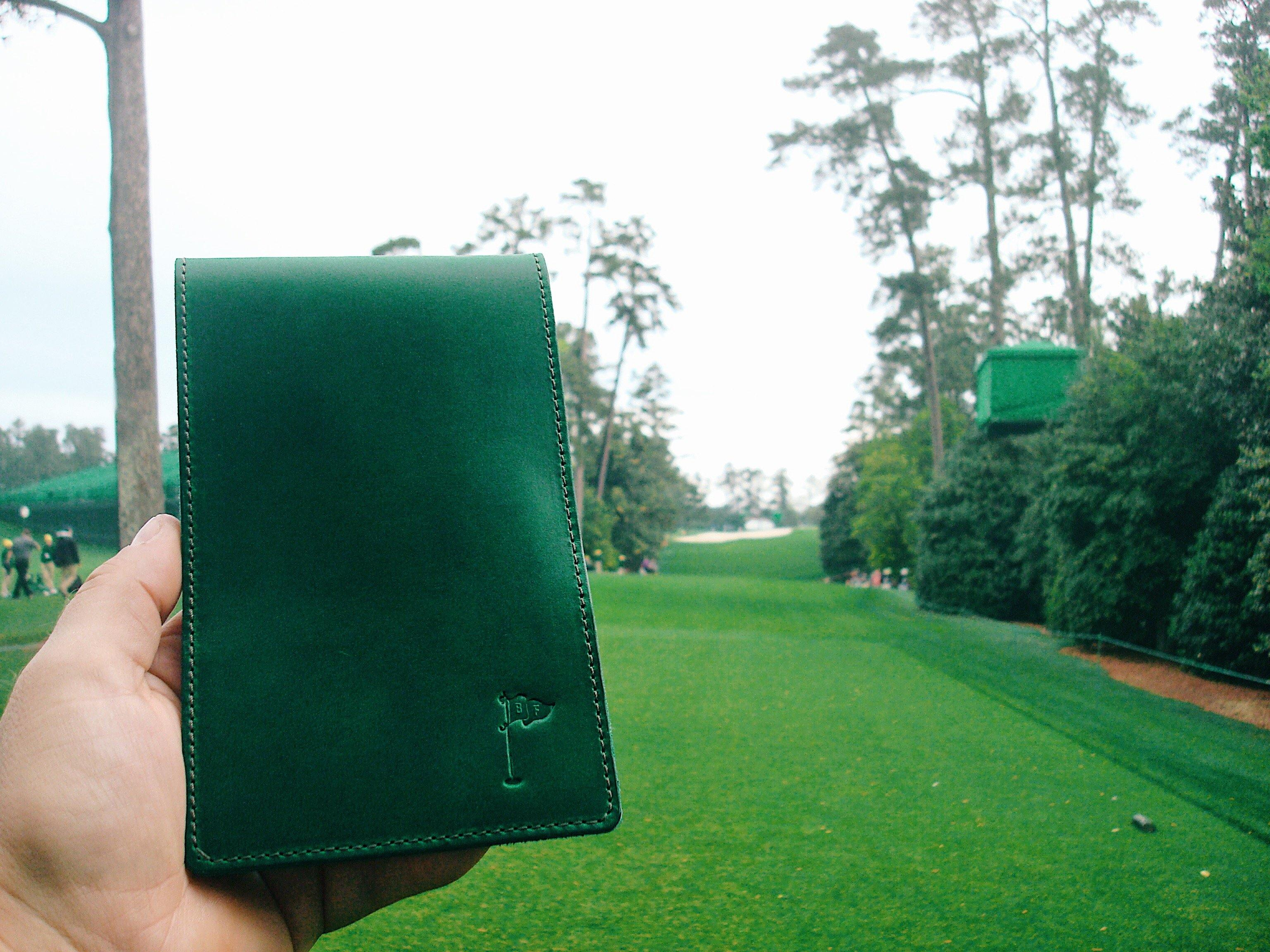 Limited Edition Horween Collection Leather Golf Scorecard Holder/ Yardage Book in Augusta Green