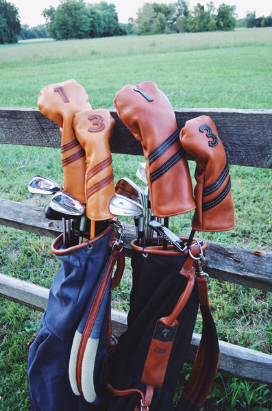 Americana Edition leather golf Headcover in Black/Chestnut  3 wood