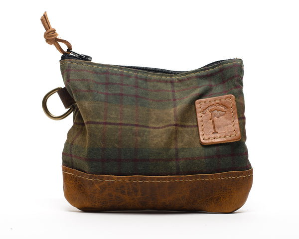 Waxed Canvas Zippered Golf Valuables Field Pouch in British Tartan