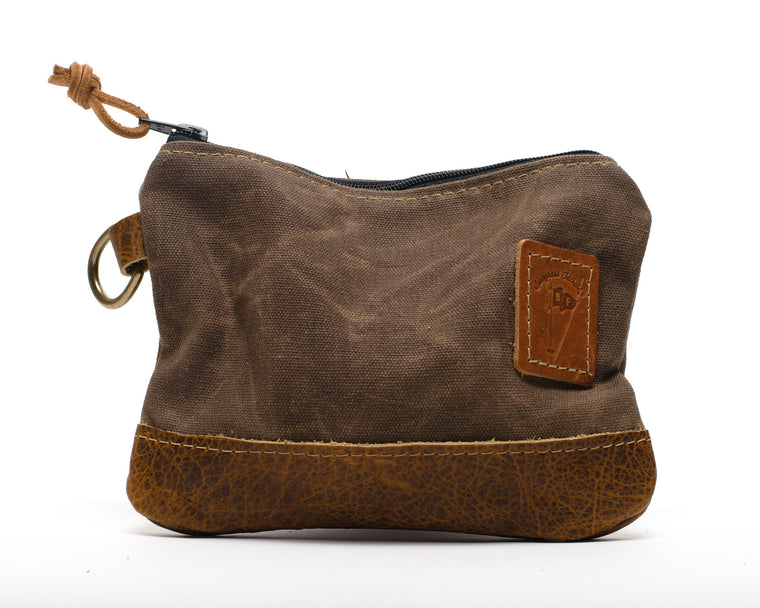 Waxed Canvas Zippered Golf Valuables Field Pouch in Bourbon