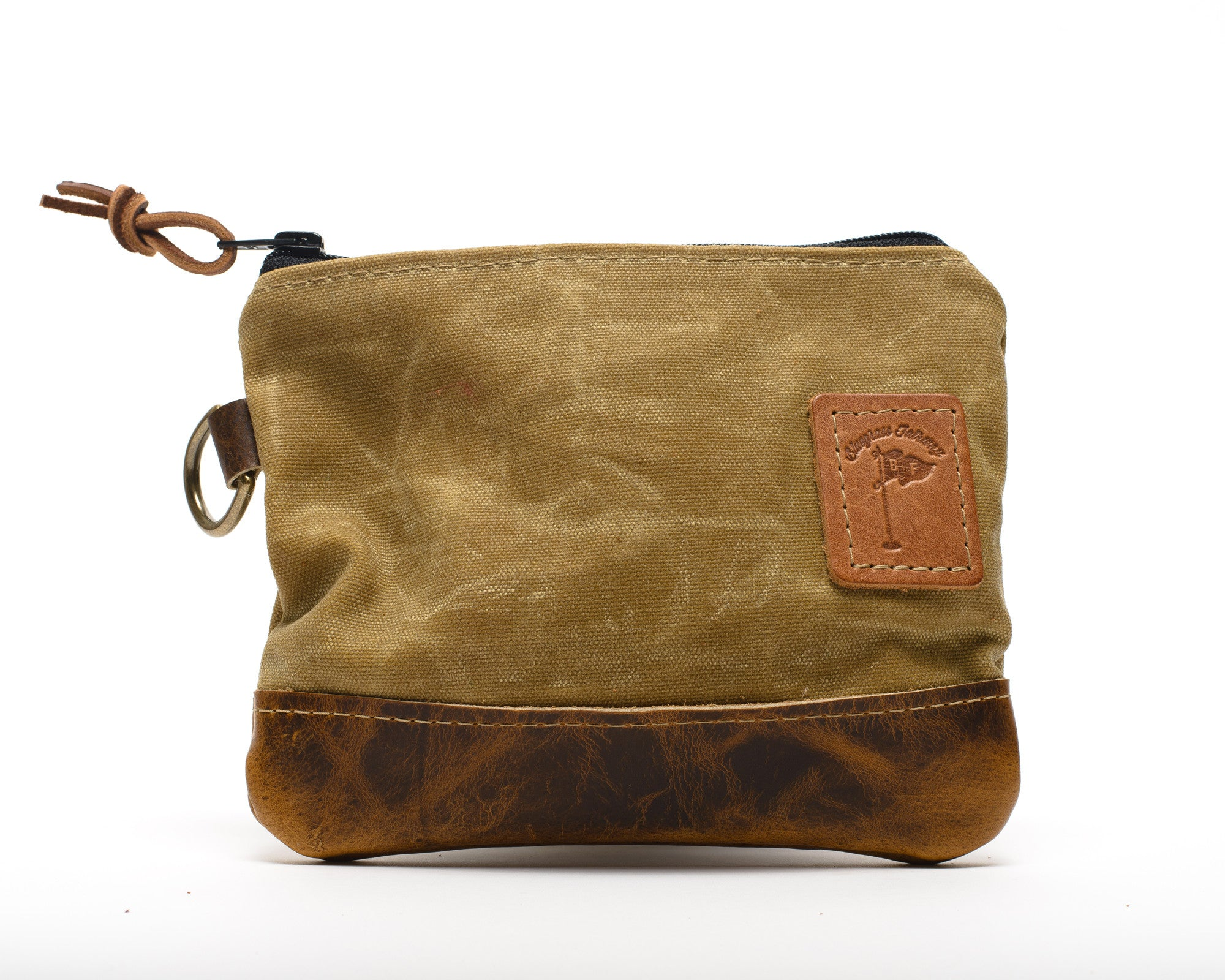 Waxed Canvas Zippered Golf Valuables Field Pouch in Tan