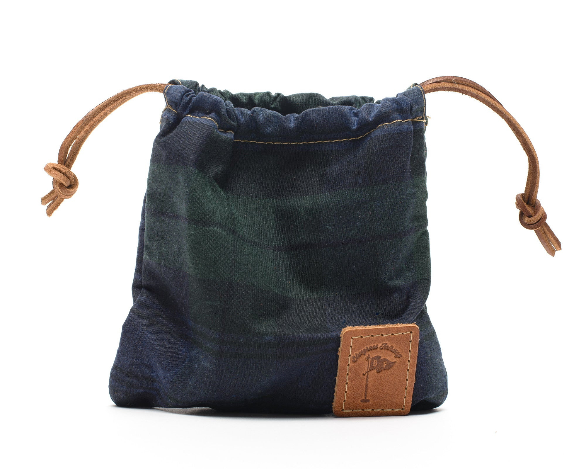 Waxed Canvas Golf Valuables Field Pouch in Black Watch Tartan