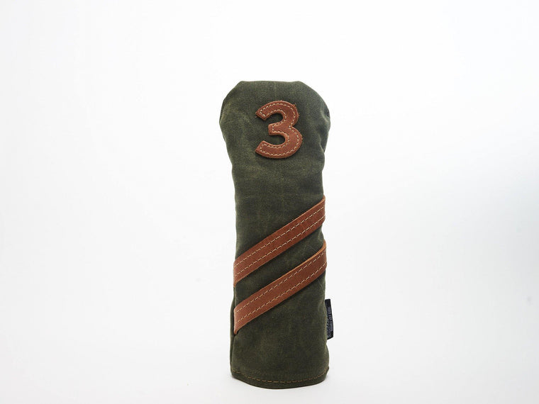 Invitational Edition Waxed Canvas golf headcover in Green 3 fairway wood