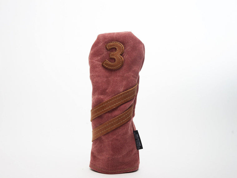 Invitational Edition Waxed Canvas golf Headcover in Nantucket Red 3 fairway wood