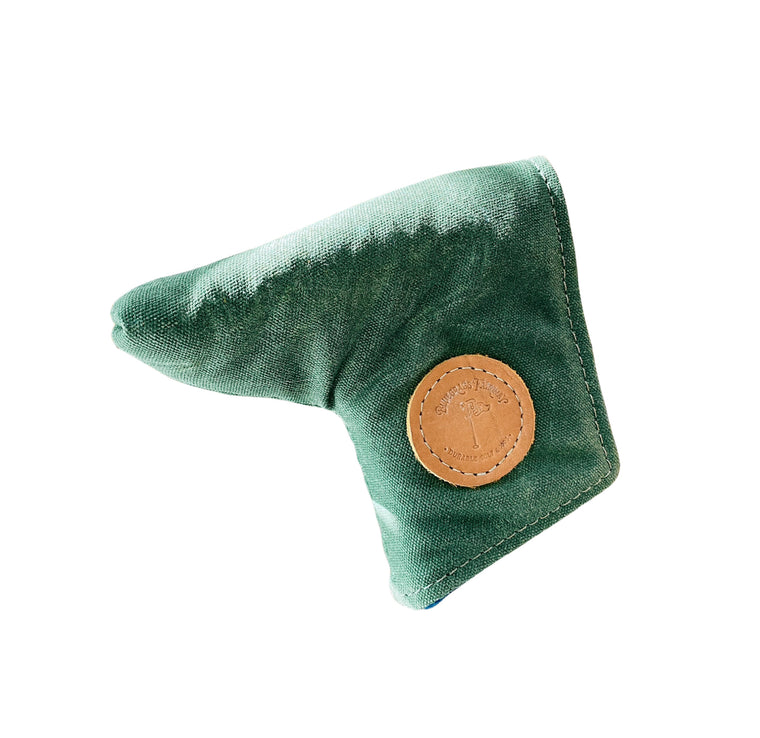 Redan putter cover in green waxed canvas