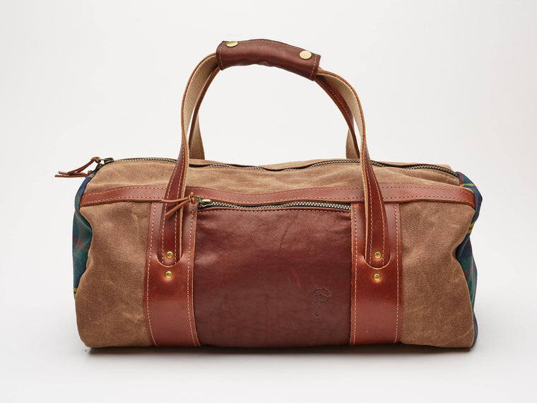 Doak Duffle Bag // Brown Waxed Canvas and Leatherhead Tartan