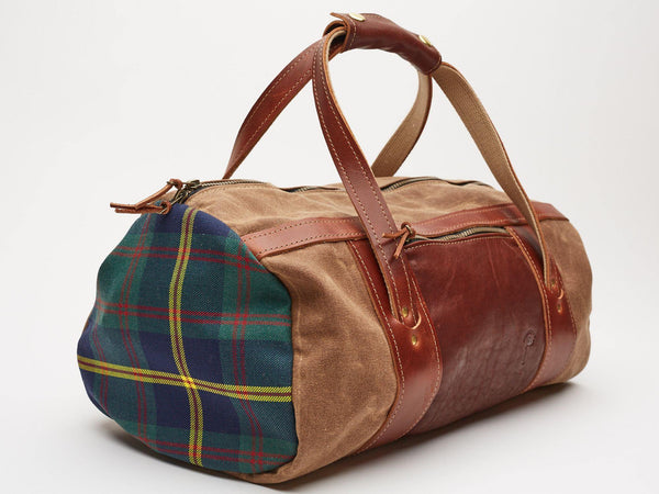 Daily Duffle Bag // Brown Waxed Canvas and Tartan